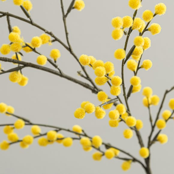 Artificial Mimosa Yellow Single Spray 88cm Yellow