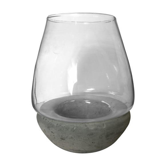 Concrete Base Hurricane Lantern Grey
