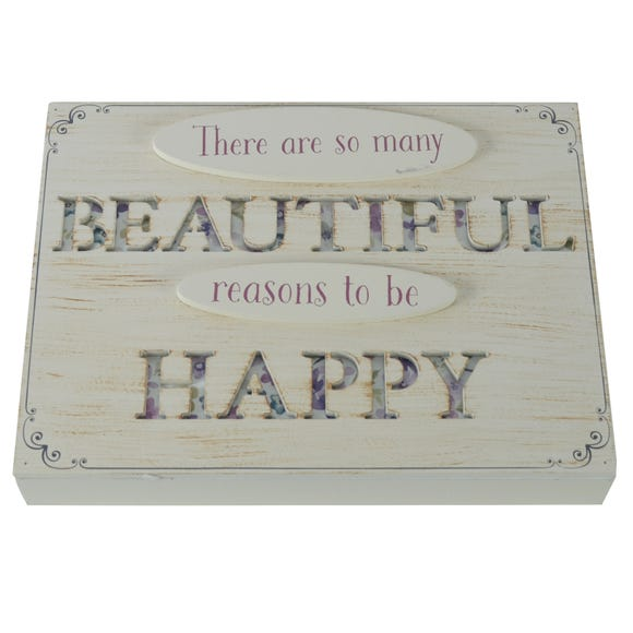 Reasons to be Happy Standing Plaque Natural