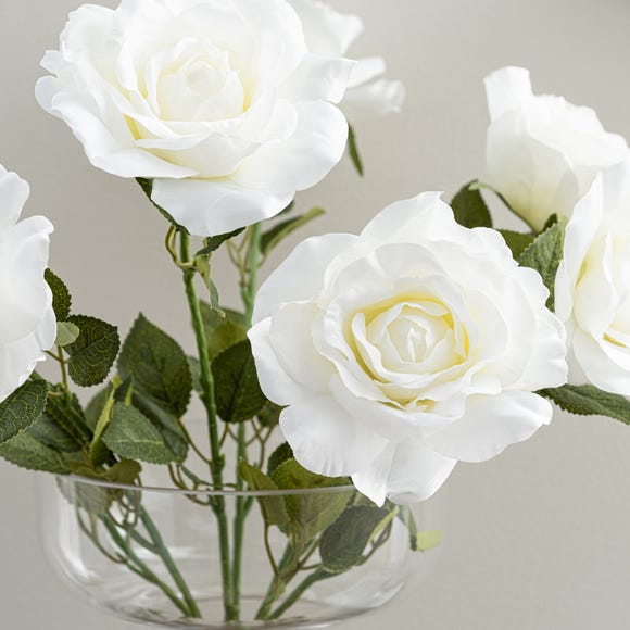 Artificial Rose Bush White 53cm Natural