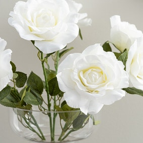 Artificial Rose Bush White 53cm