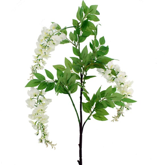 Artificial Wisteria Flower Cream Single Spray 126cm Natural