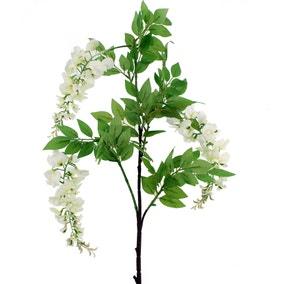 Artificial Wisteria Flower Cream Single Spray 126cm
