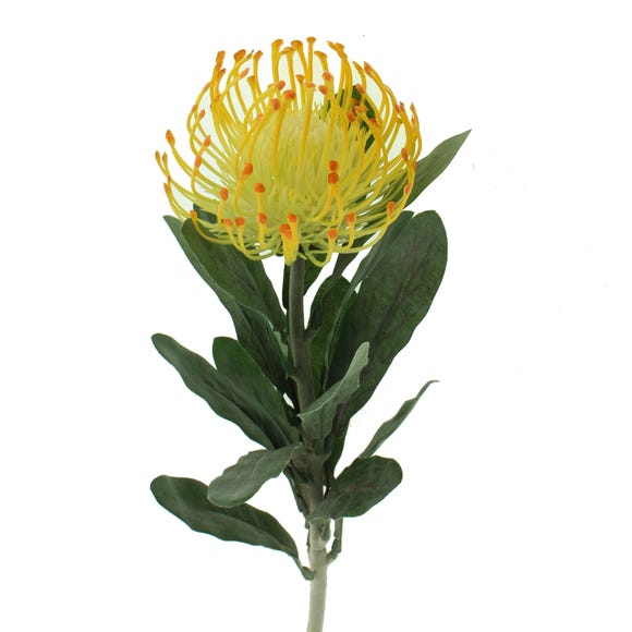 Artificial Pincushion Protea Yellow Single Stem 67cm Yellow