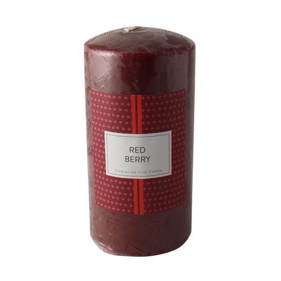Red Berries Pillar Candle Red