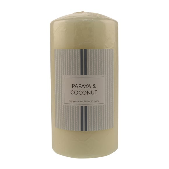 Papaya and Coconut Pillar Candle White