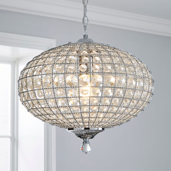 Felicity 1 Light Pendant Jewel Chrome Ceiling Fitting Clear
