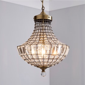 Knightsbridge Crystal Antique Brass Chandelier
