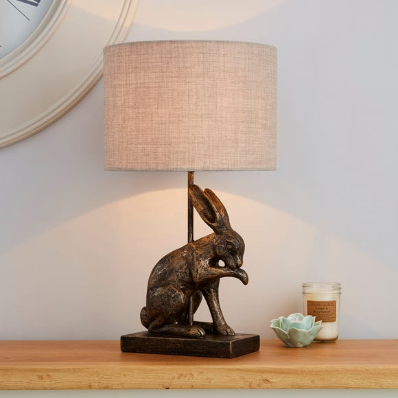 Hare Licking Paw Antique Brass Table Lamp Antique Brass