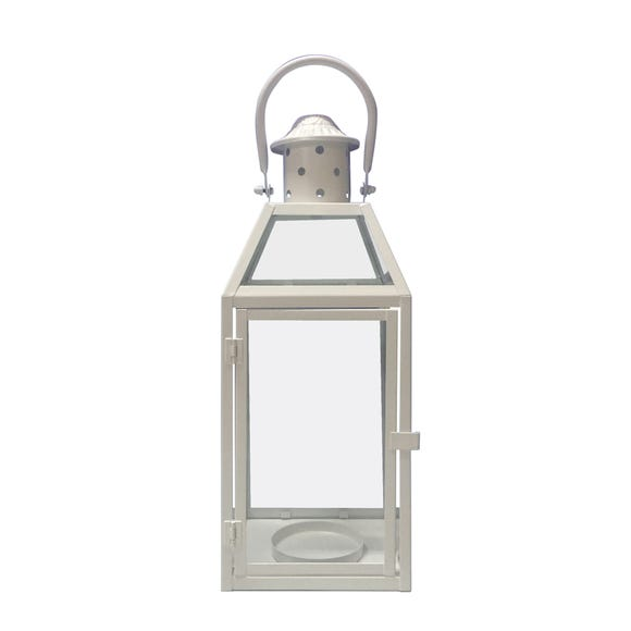 Decorative White Metal Lantern White undefined