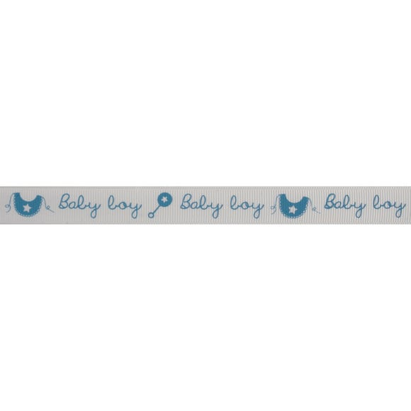 Baby Boy Rattle and Bib Blue Ribbon Blue