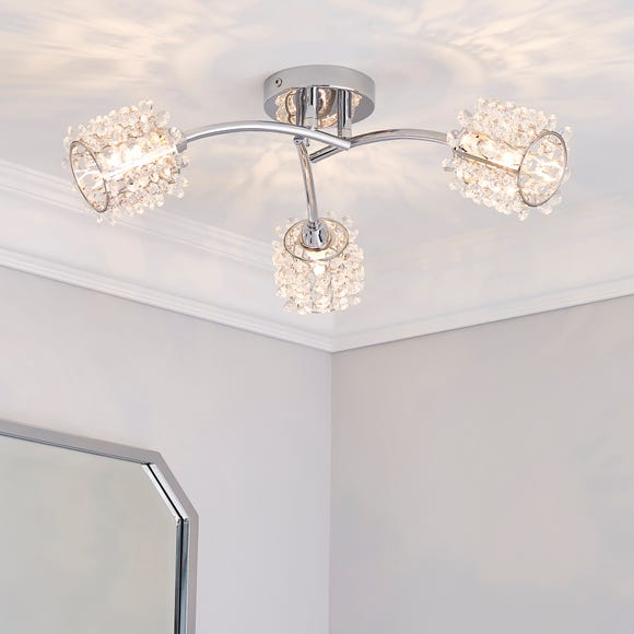 Jaimee 3 Light Jewel Chrome Semi-Flush Ceiling Fitting Silver