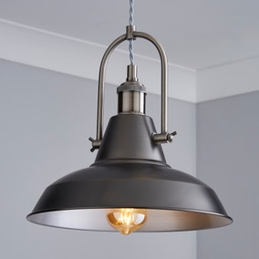 Lucas Industrial 1 Light Pendant Pewter Ceiling Fitting