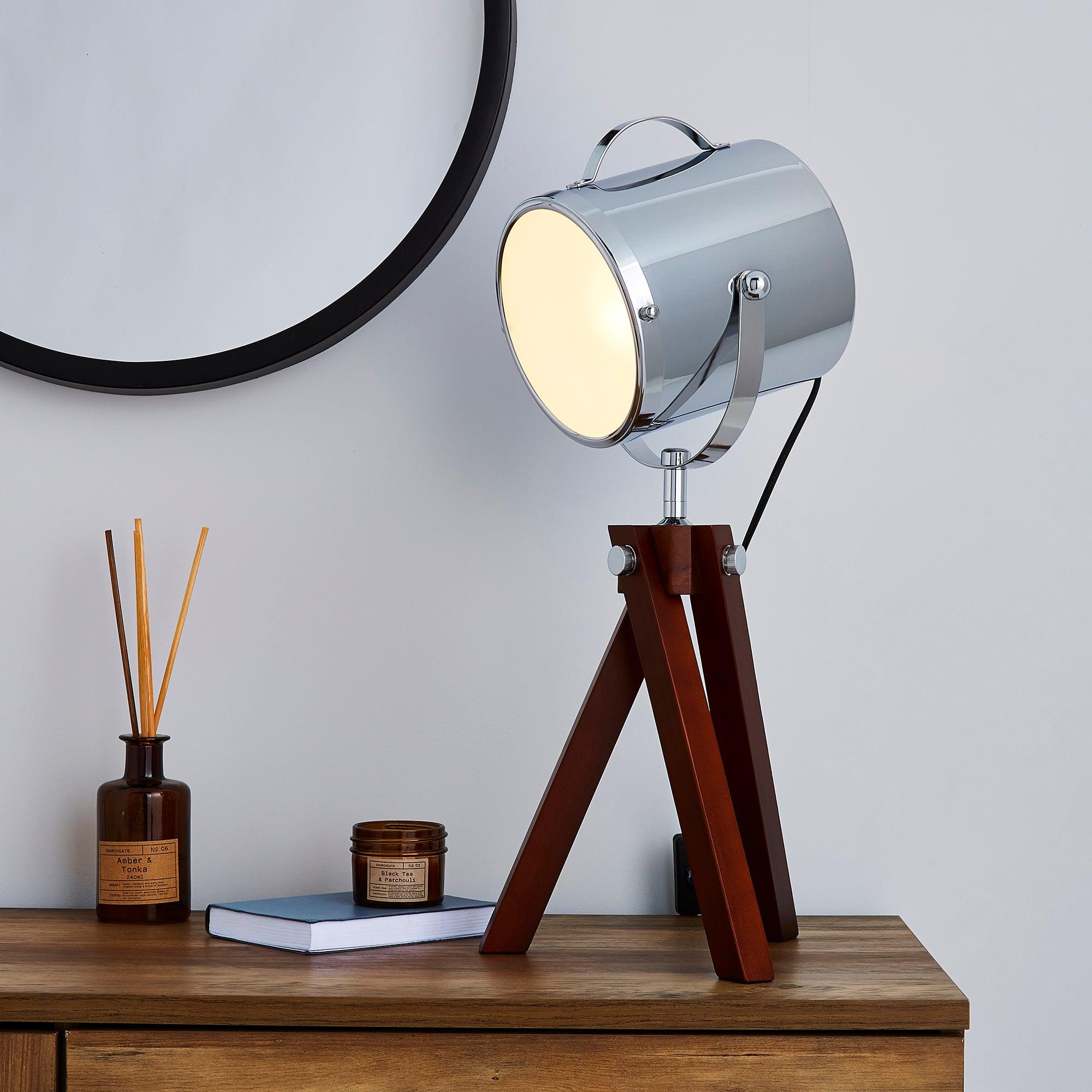 Carlton Camera Tripod Dark Wood Table Lamp Wood (Brown)