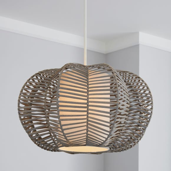 Weave Wicker Natural Easy Fit Pendant Grey