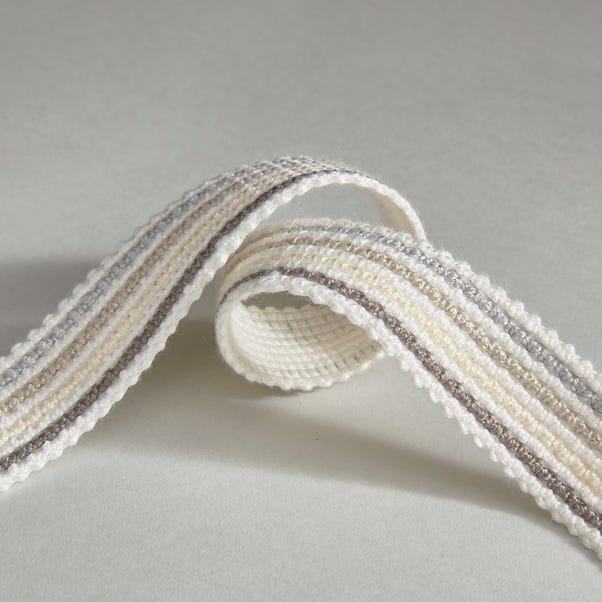 Grey Stripe Braid Ribbon Grey