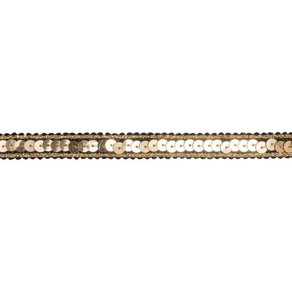 Gold Sequin Metallic Edged Ribbon Gold