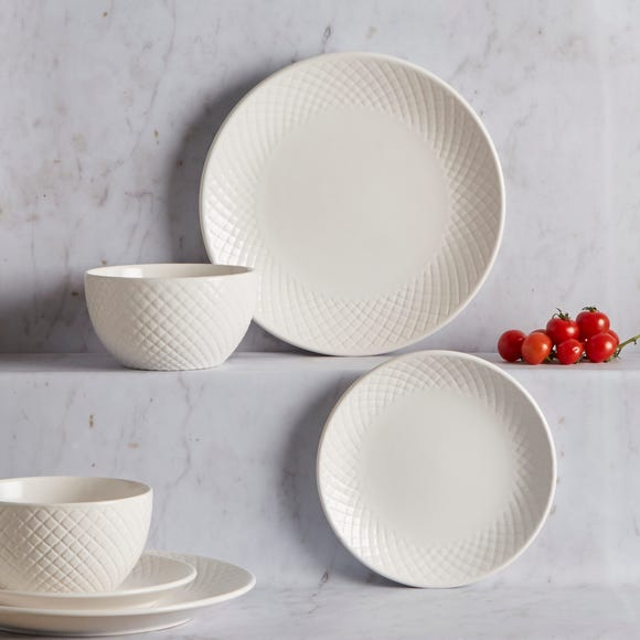 Quilted 12 Piece Dinnerset White White