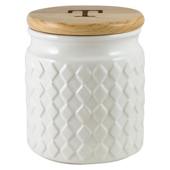 Quilted White Tea Canister White