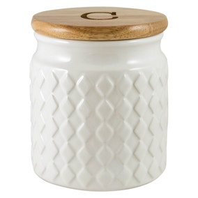 Quilted White Coffee Canister