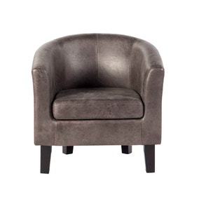 Faux Leather Tub Chair - Grey
