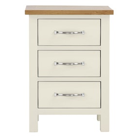 Sidmouth Cream 3 Drawer Bedside Table