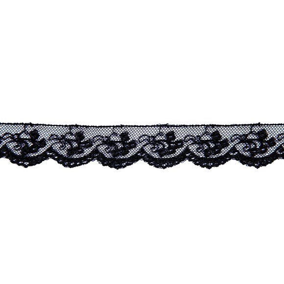 Rayon Embroidered Tulle Lace Ribbon Black