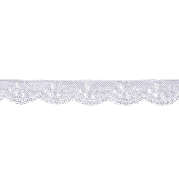 Rayon Embroidered Tulle Lace Ribbon Cream (Natural)