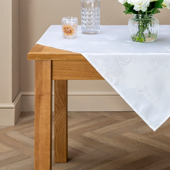 Rose Jacquard White Tablecloth White undefined