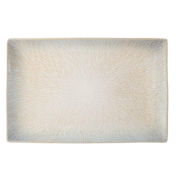 Star Burst Reactive Glaze White Platter White