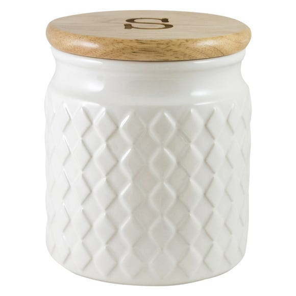 Quilted White Sugar Cansiter White