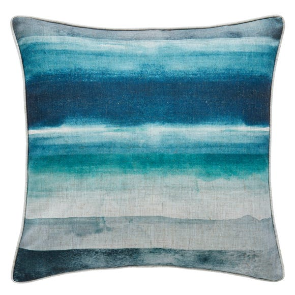 Watercolour Stripe Cushion Blue