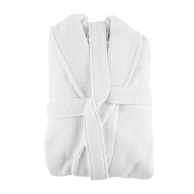 5A Fifth Avenue White Waffle Dressing Gown