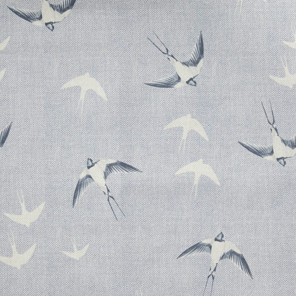 Swallows Blue Cotton Fabric Blue