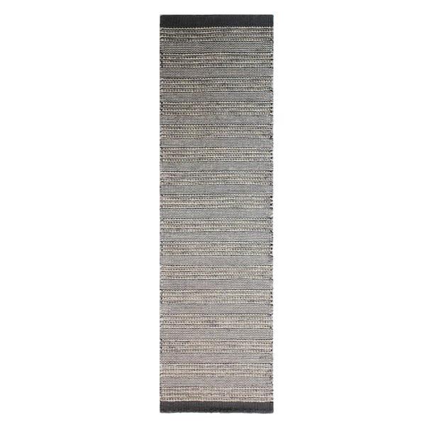 Cut and Loop Wool Runner Grey