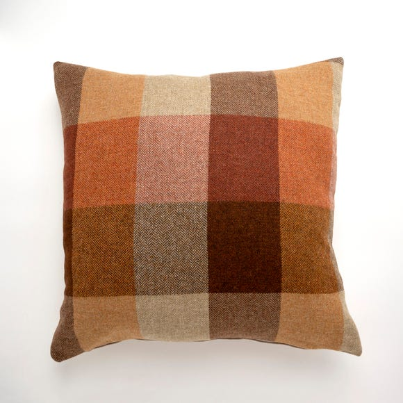 Large Heritage Check Orange Cushion Orange