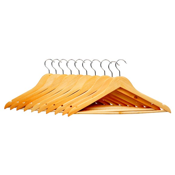 Pack of 10 Wooden Hangers Natural