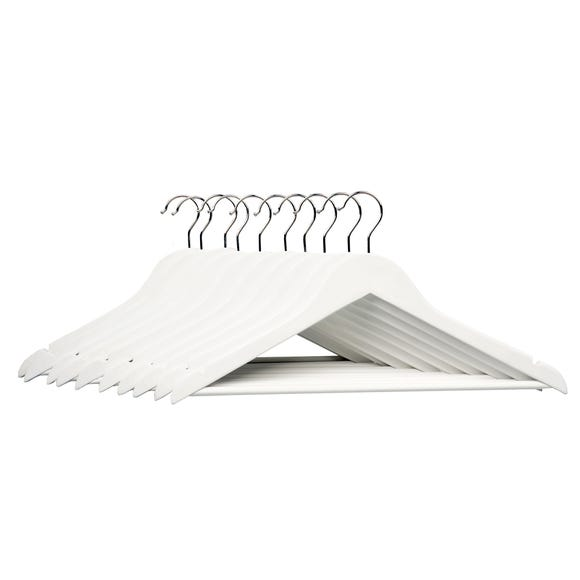Pack of 10 White Wooden Hangers White