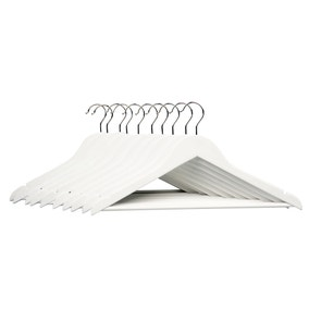 Pack of 10 White Wooden Hangers