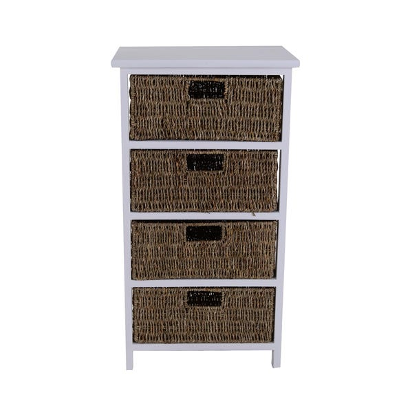 Seagrass 4 Drawer Tower White