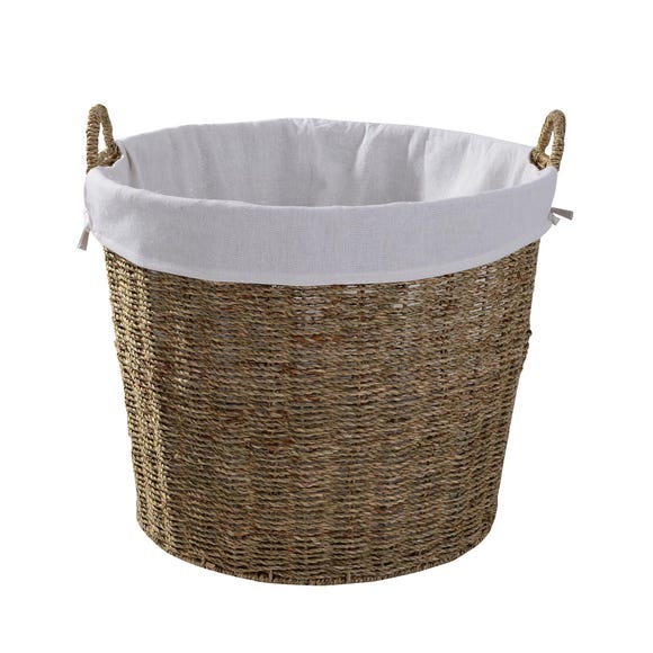 Round Seagrass Log Basket Natural