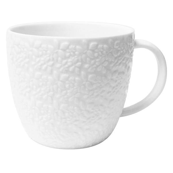 Embossed White Leaf Mug White