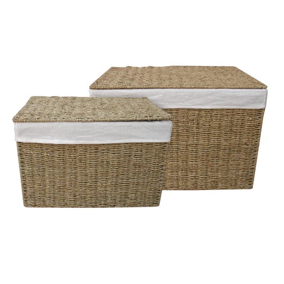 Small and Large Seagass Ottoman Set Natural