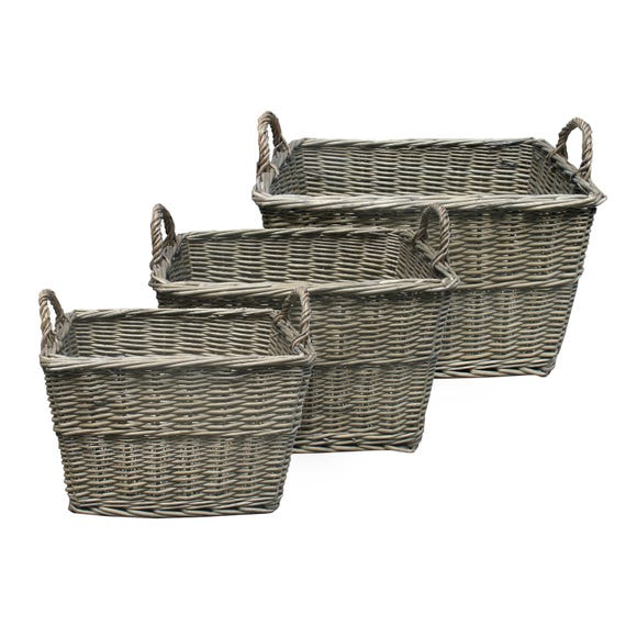 Set of 3 Grey Willow Tapered Baskets Grey