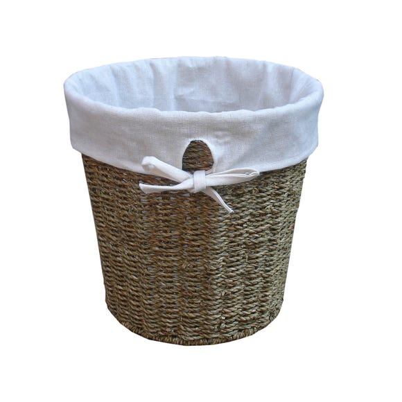 Seagrass Waste Paper Bin with Liner Natural