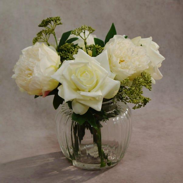 Dorma Artificial Peony and Rose Arrangement Cream in Glass Vase 28cm Natural