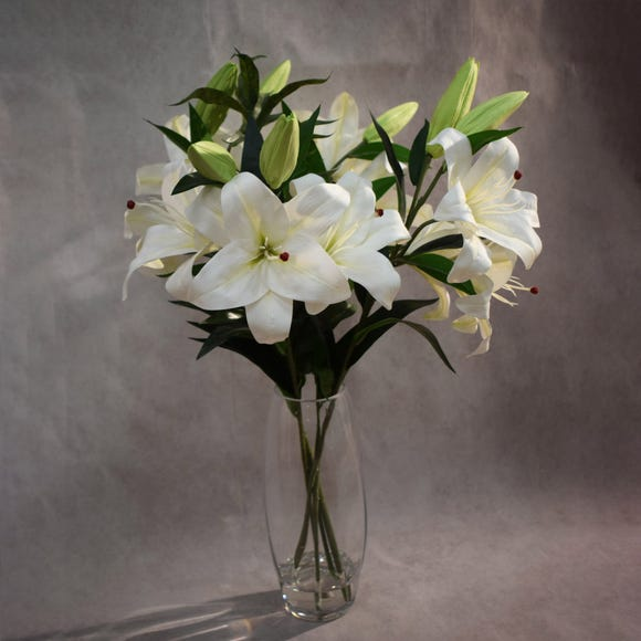 Dorma Artificial Stargazer Lilies White in Glass Vase 65cm White