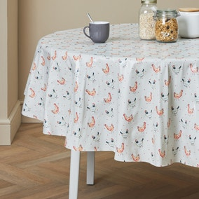 Country Hens Round PVC Tablecloth