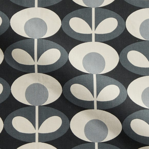 Orla Kiely Oval Flower Cool Grey Cotton Fabric Grey