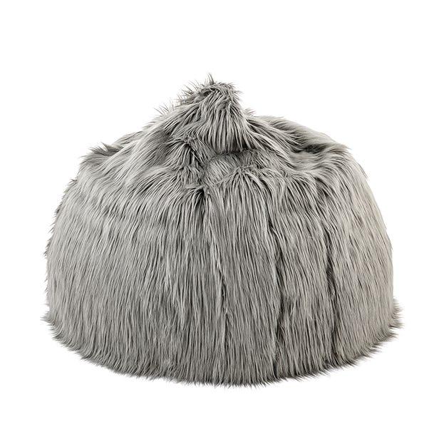 Skylar Mongolian Faux Fur Large Bagel - Grey Grey